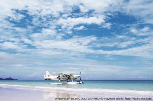 ホワイトヘブンビーチの白い砂と青い空(ハミルトン島)