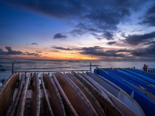 ワイキキビーチのサンセット(オアフ島)