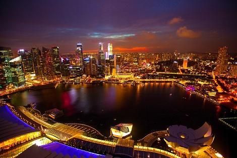 シンガポール:マリーナベイサンズからの眺め