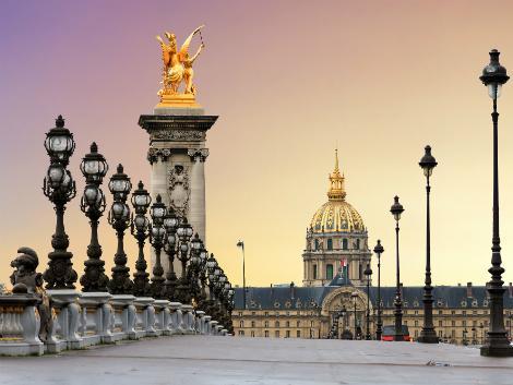 ◇◎パリ:アレクサンドル3世橋の夕景