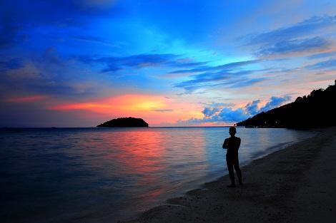 コタキナバル:マヌカン島のサンセット