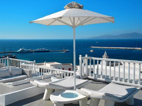 ミコノス島:ぺタソス タウン ホテル テラスからの眺め