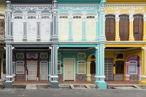 ペナン島:ジョージタウンのカラフルな街並み