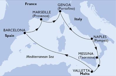 MSCグランディオーサ2020年夏季航路