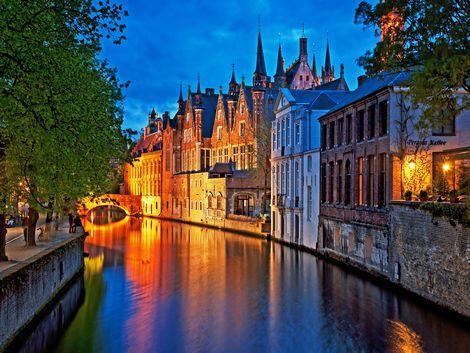 ◇◎ブルージュ:夜の運河