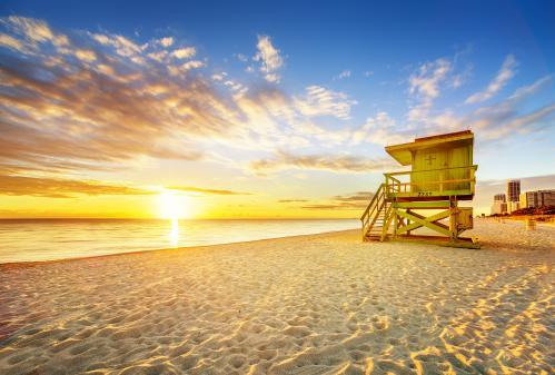 夕暮れのマイアミビーチ