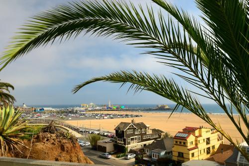 高台から見下ろすサンタモニカのビーチ(ロサンゼルス)