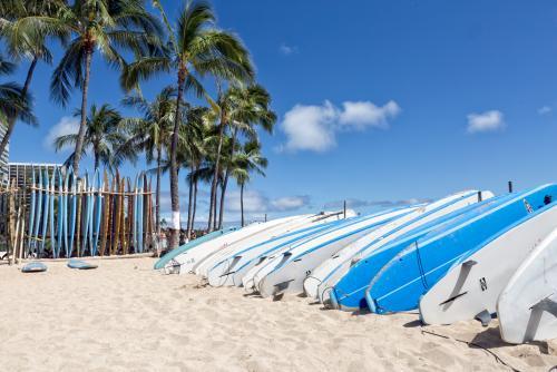 サーフボードが並ぶワイキキビーチ(オアフ島)