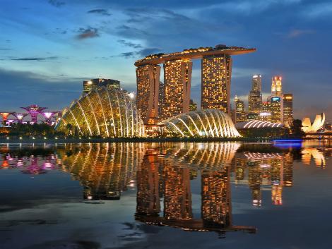 シンガポール:マリーナの夜景