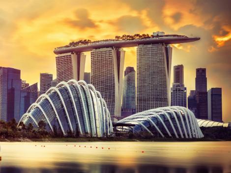 シンガポール:マリーナの夕暮れ